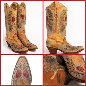 Corral heart angel wing snip toe cowgirl boots